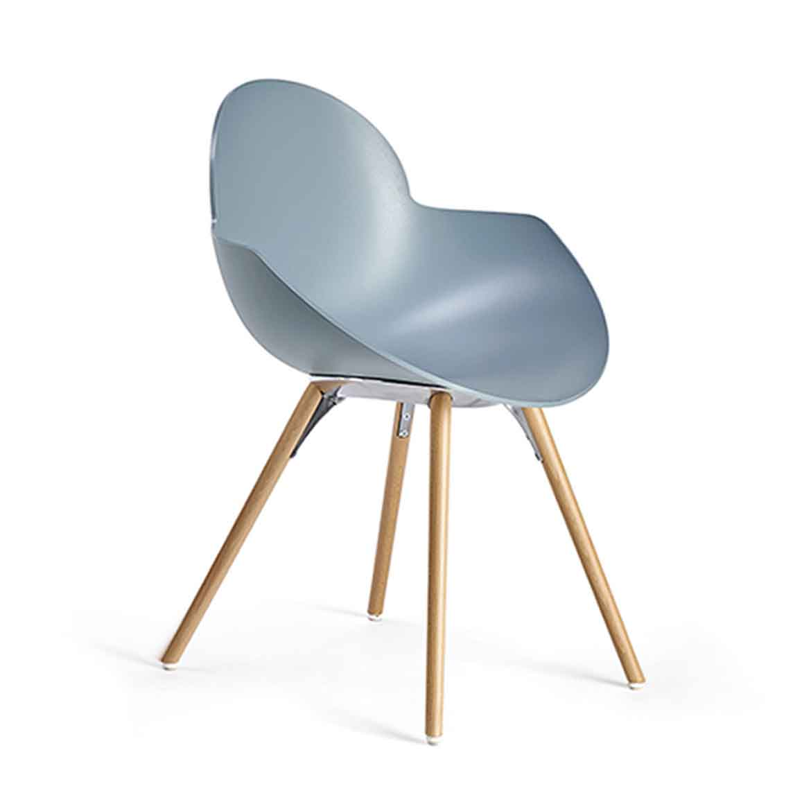 Chair with injection moulded polypropylene shell. Version avaliable with upholstered in leather, eco-leather or fabric. Also with many different legs and frames.