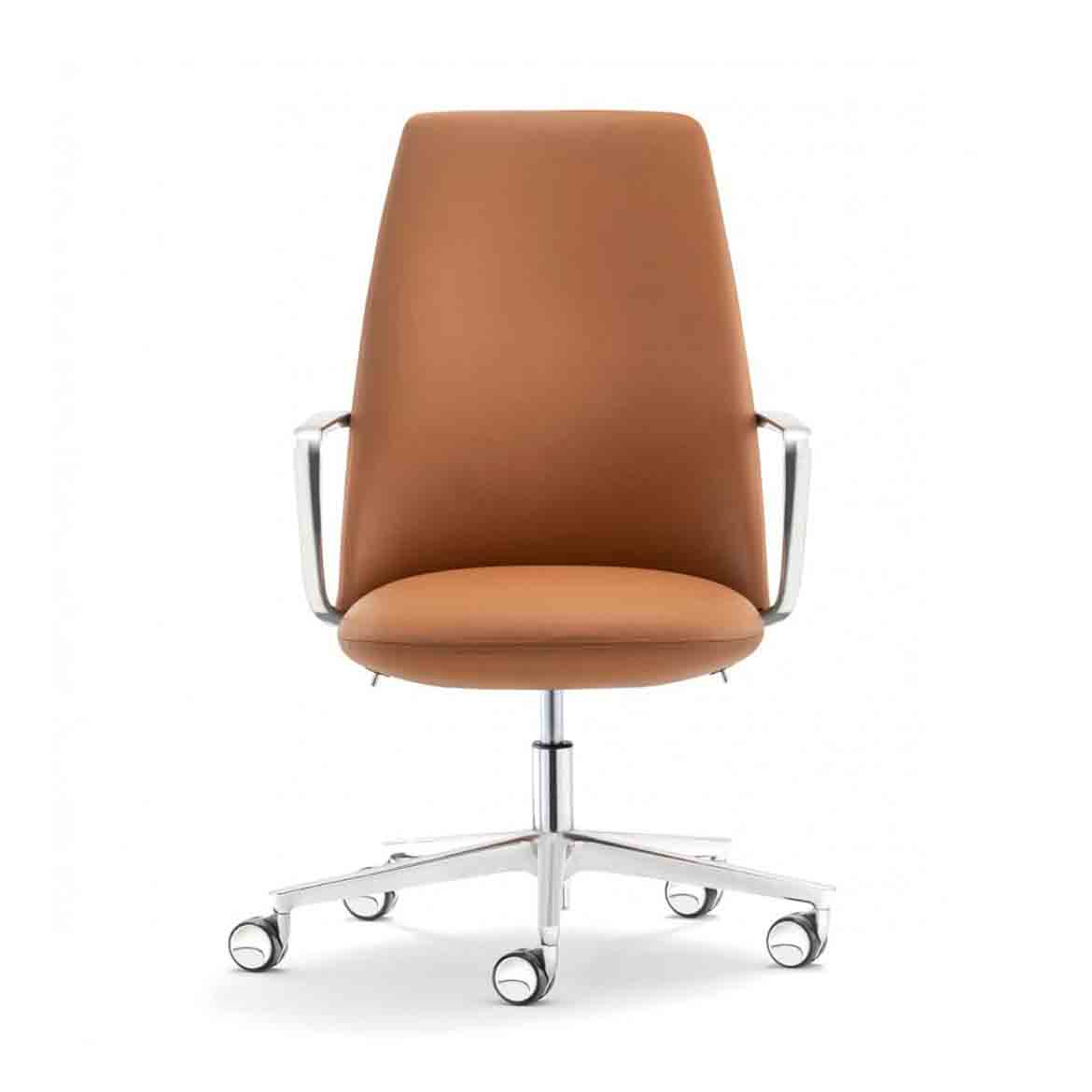 Upholstered swivel chair with die-cast aluminium armrest and hight adjustable seat. Five-star aluminium base.