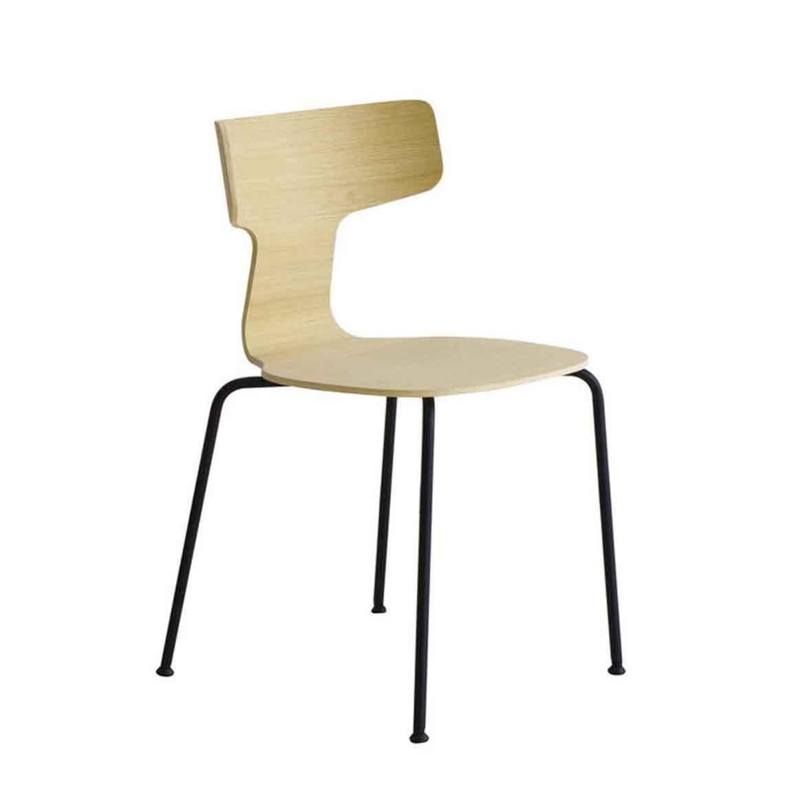 Stackable chair with metal base powder coated or mat chromed. Seat in moulded plywood in several finishes. Also available with wooden legs, not stackable.