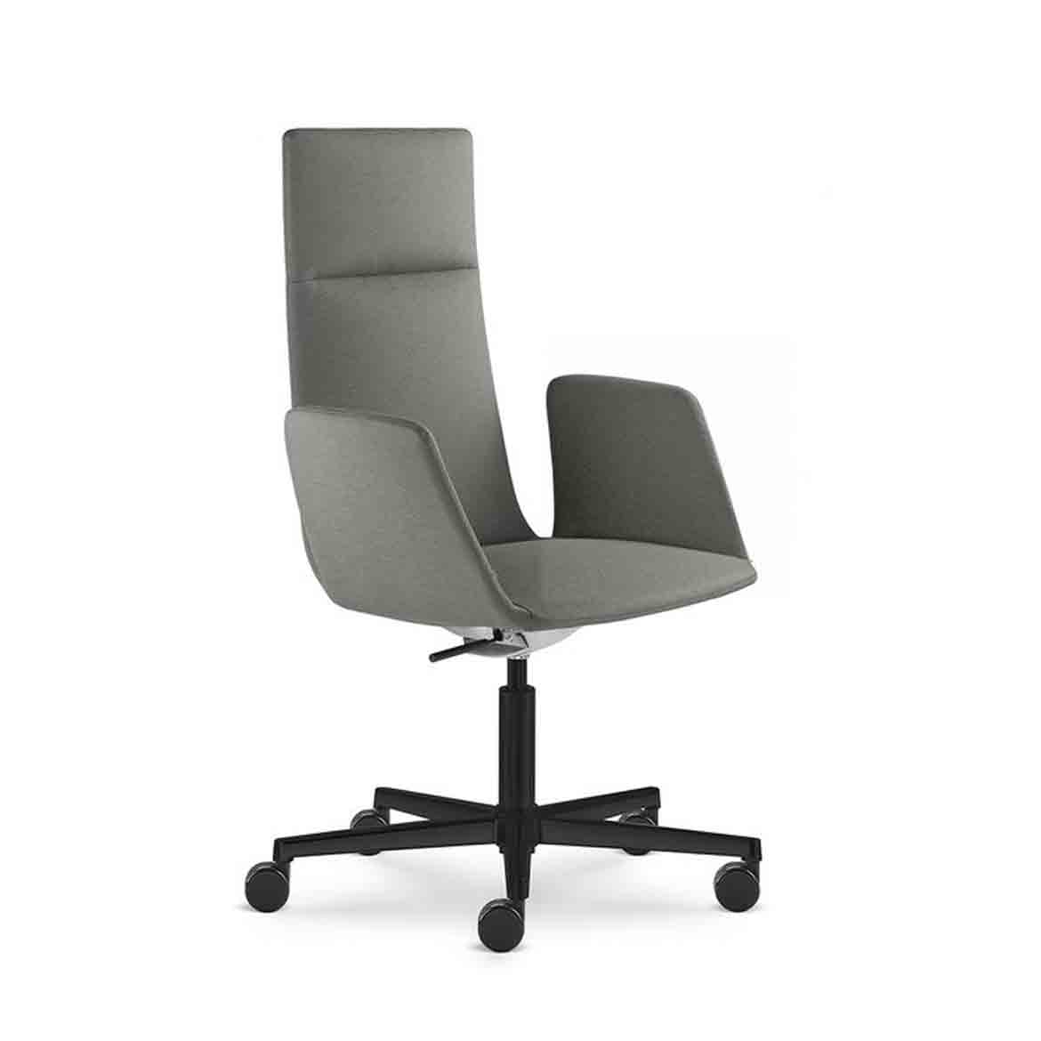 Office armchair with medium size backrest and height adjustable and swivel, relaxing rocking mechanism. Black painted aluminium base, fixed upholstered armrests, large castors.