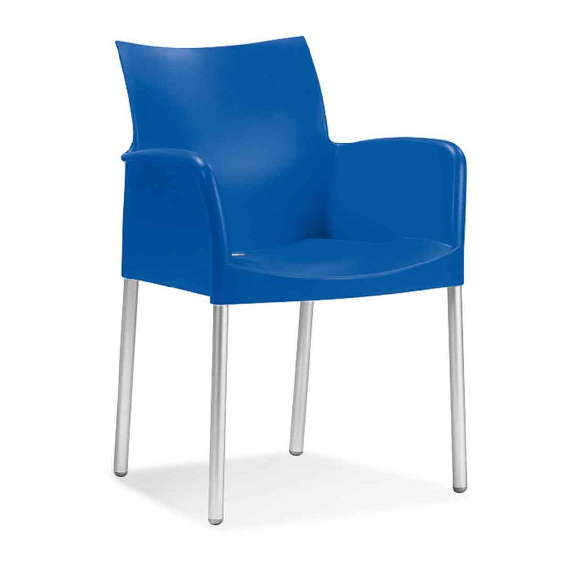Anodised aluminium legs, suitable for outdoor use. Polypropylene shell, available in 7 colours.