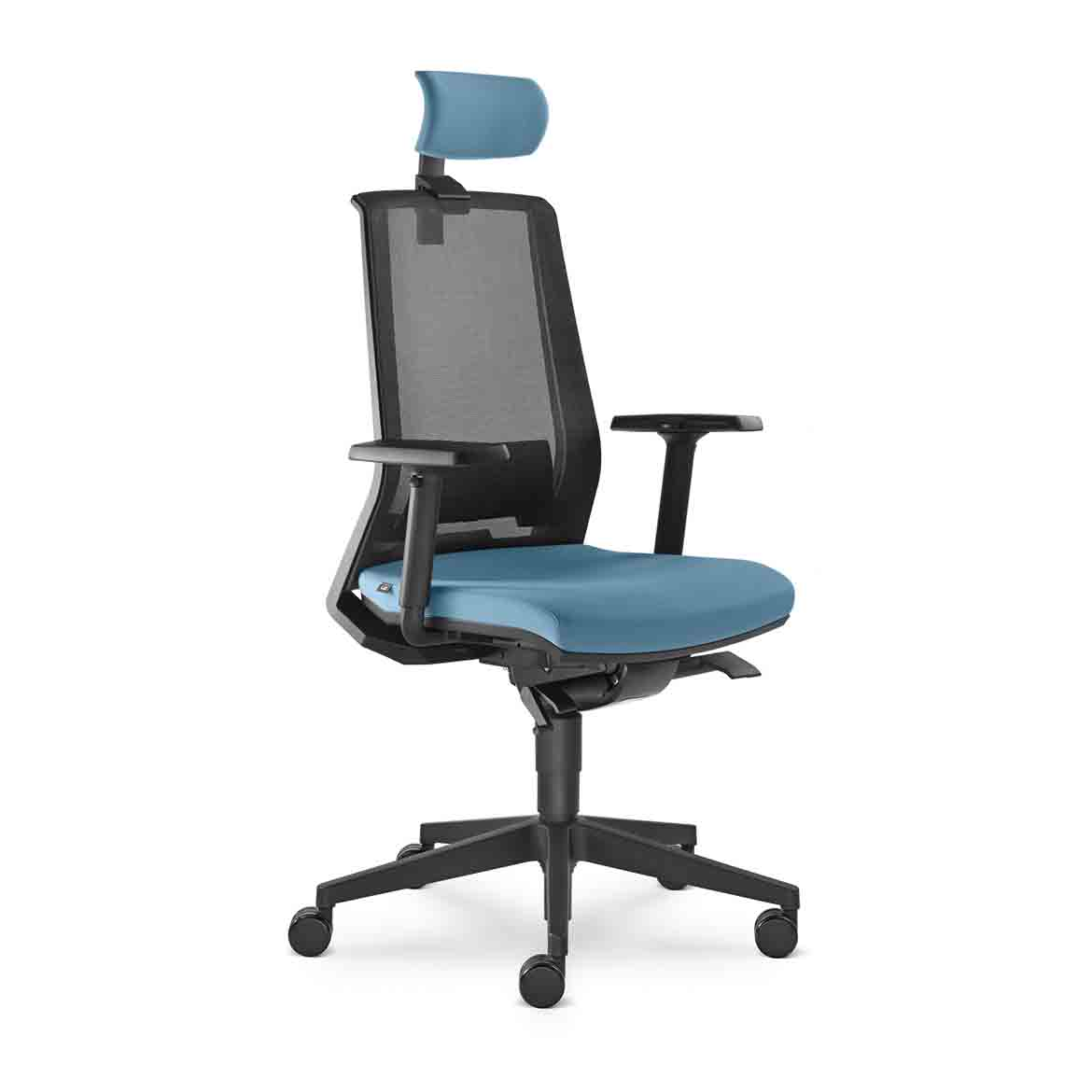 Office chair, high backrest upholstered with nonstretch