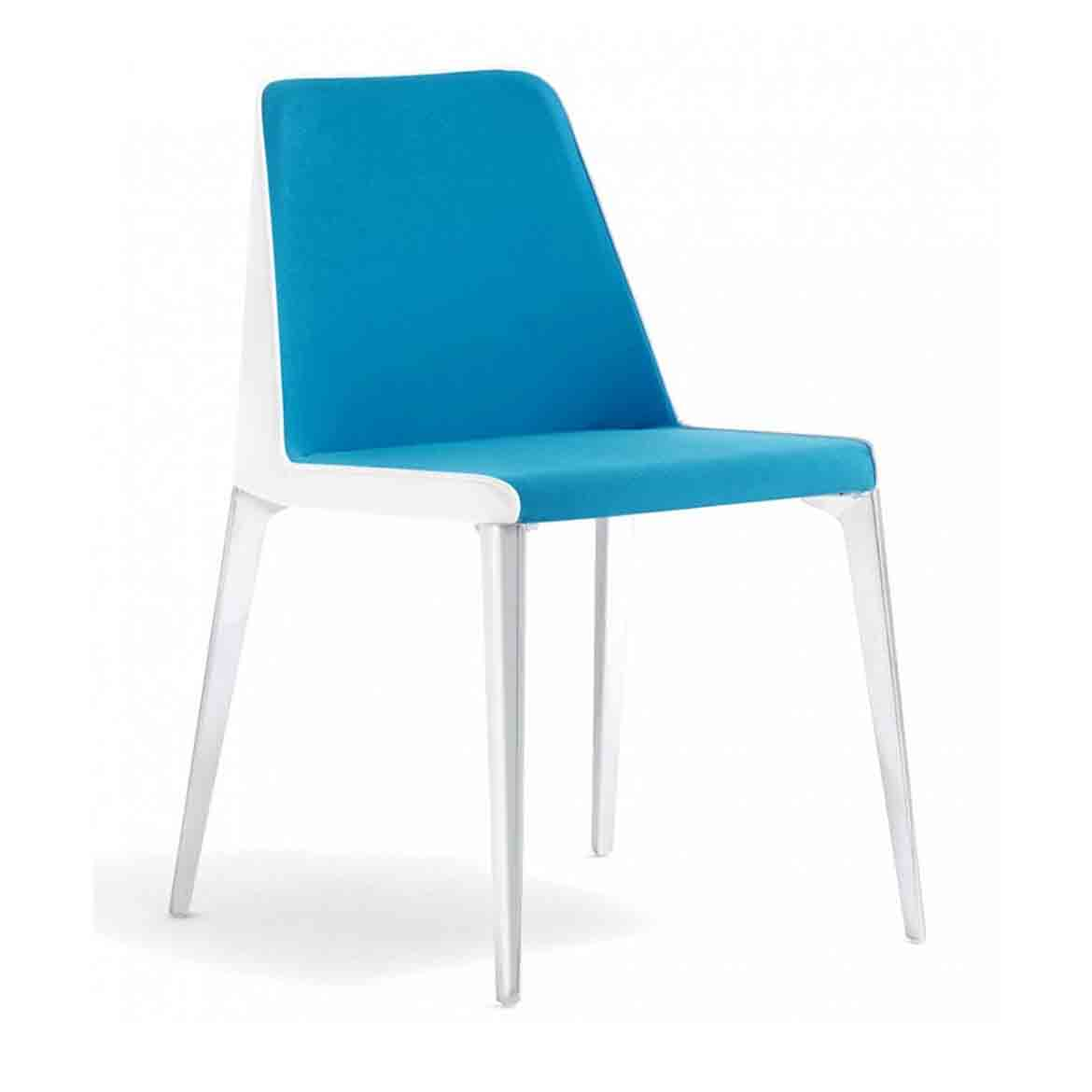 The legs can be powder coated to match the upholstery or they can be polished. The seat is made of crossed elastic belts, covered by polyurethane foam. The upholstery could be entirely with fabric or leather (or eco leather) for the outside and fabric for the inside shell. Available also in C.O.M.