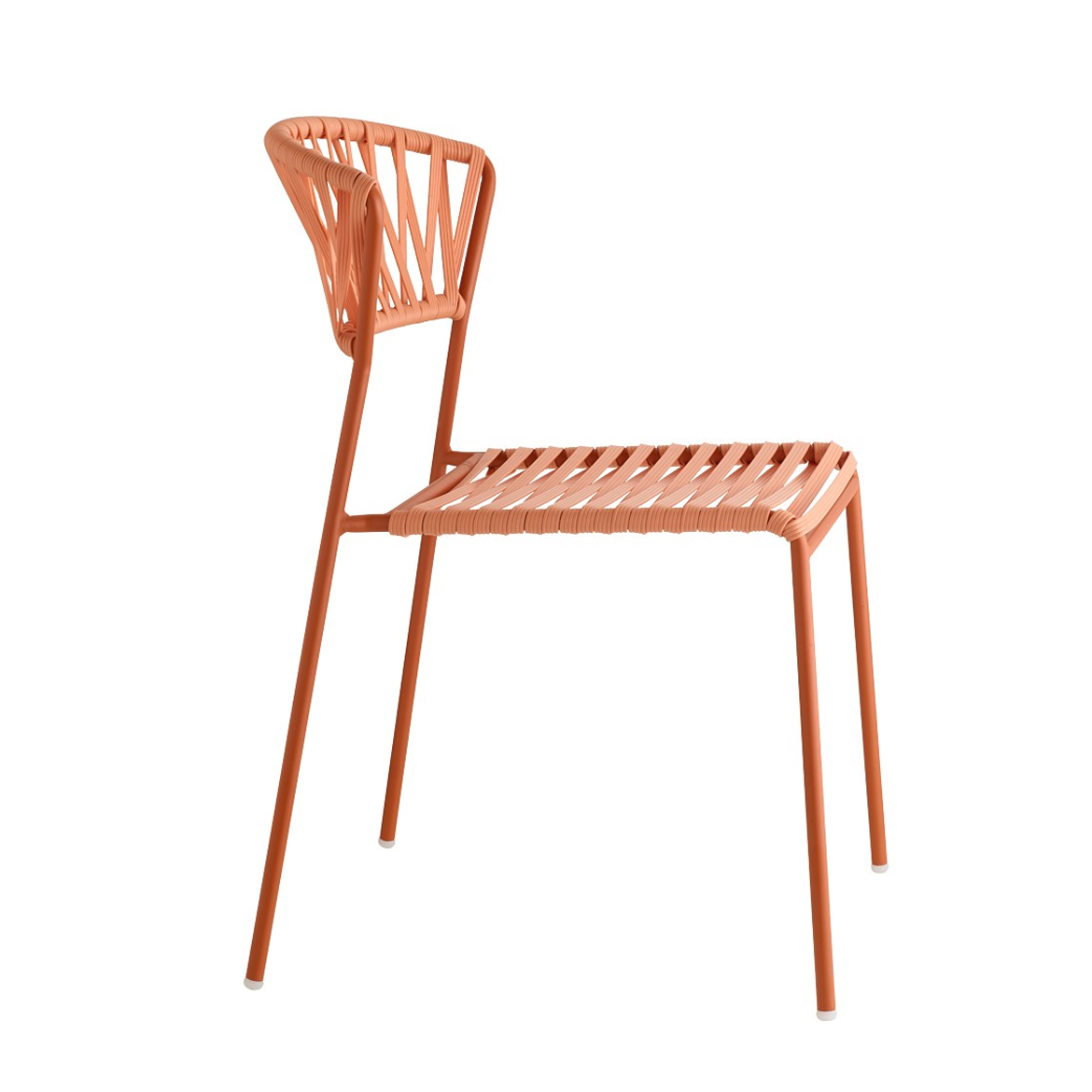 Seat and back: braided in extruded PVC reinforced with nylon wires. Stackable. For indoor/outdoor use. Frame and braiding are 100% demountable for a correct recycling process.