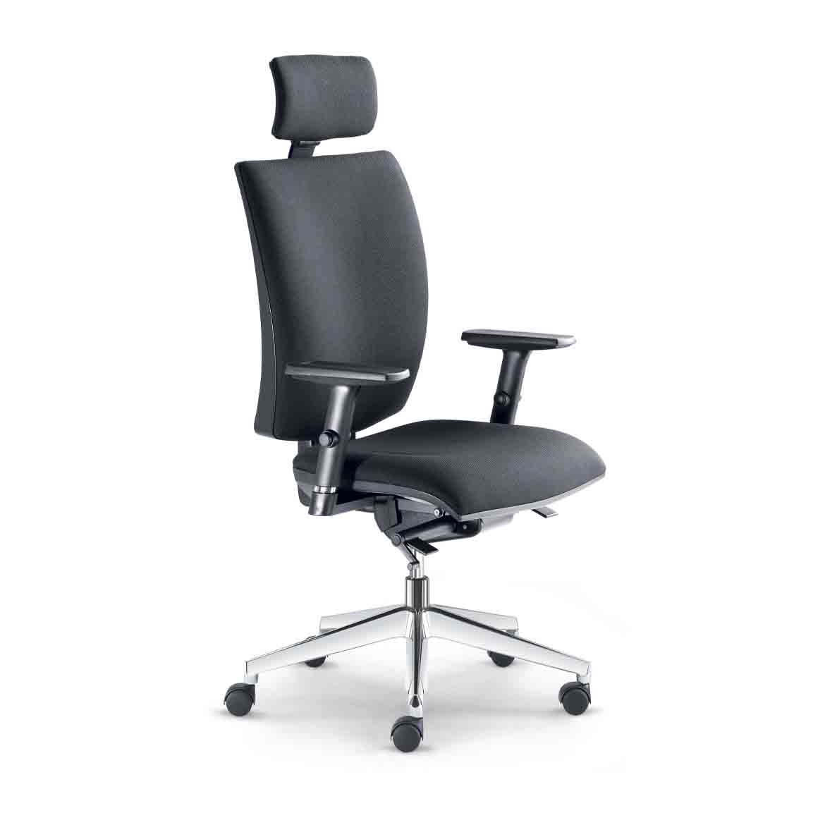 Office chair with high backrest, adjustable upholstered headrest, synchronous mechanism with side tention adjustment, height-adjustable backrest, black nylon five-star base, castors, pneumatic lift mechanism.