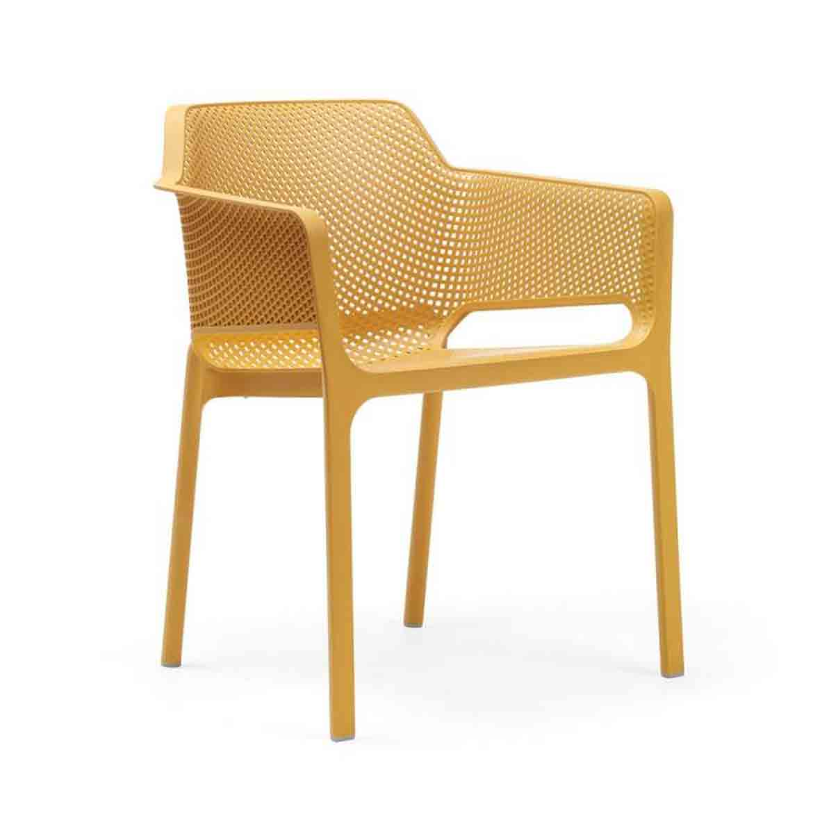 Monobloc armchair. Uniformly colored fiberglass polypropylene resins with UV additives. Matt finish. With non-slip feet. Cushion available to order. Recyclable resin.