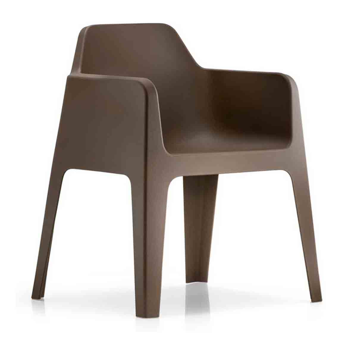 Polypropylene frame with matt finish.Available colours: white, beige, anthracite grey, brown, green and orange. Stackable. Same as the stucture. Available also with seat cushion.