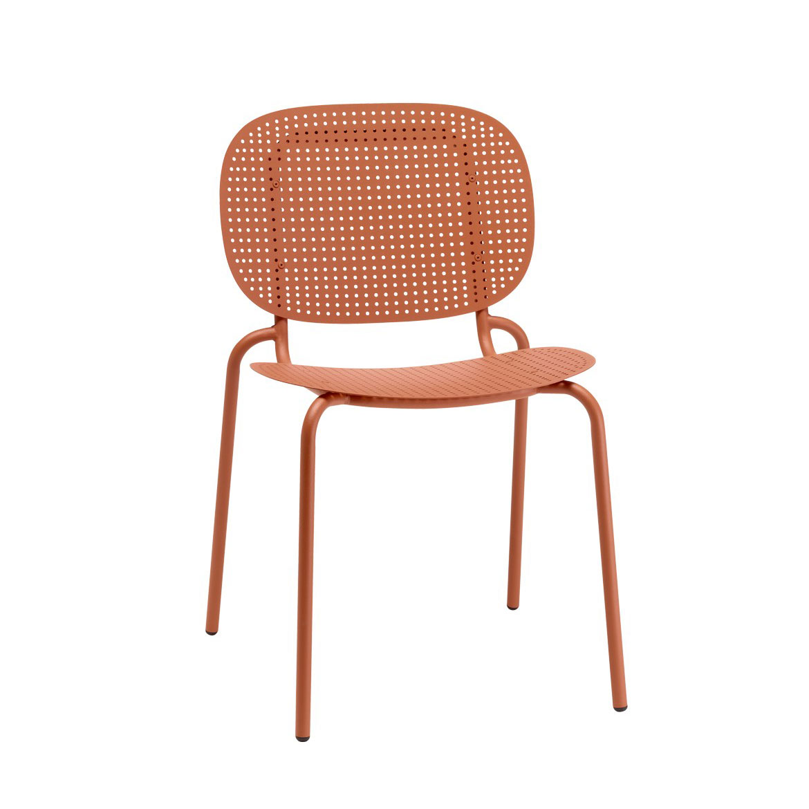 A single body in zinc and coated steel sheet, fixed to the slender frame, can act either as a backrest or as a seat. Stackable. Indoor/outdoor use.