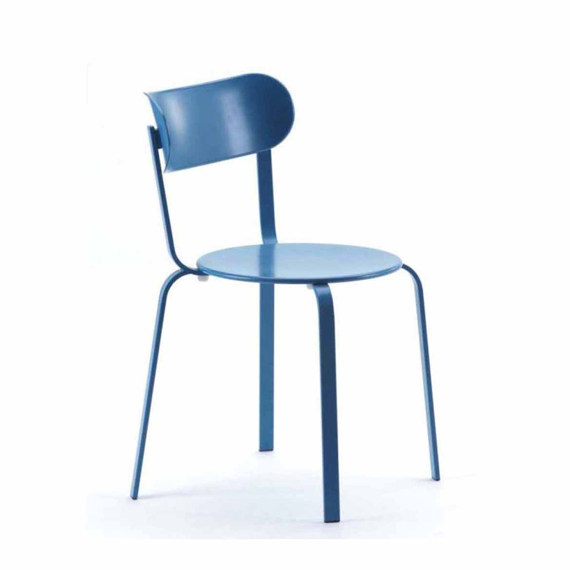 Stackable chair in powder coated metal: also available with thermoformed seat-pad in anthracite colour. Glides in polythene. A stool is available in two fix heights.