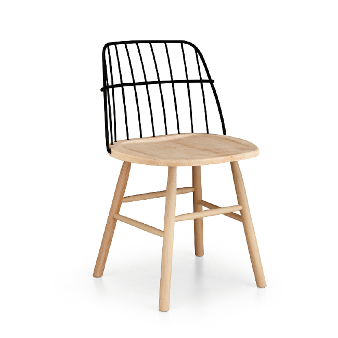 Chair with wooden frame backrest in lacquered steel. Avaliable in many colours and finishes.
