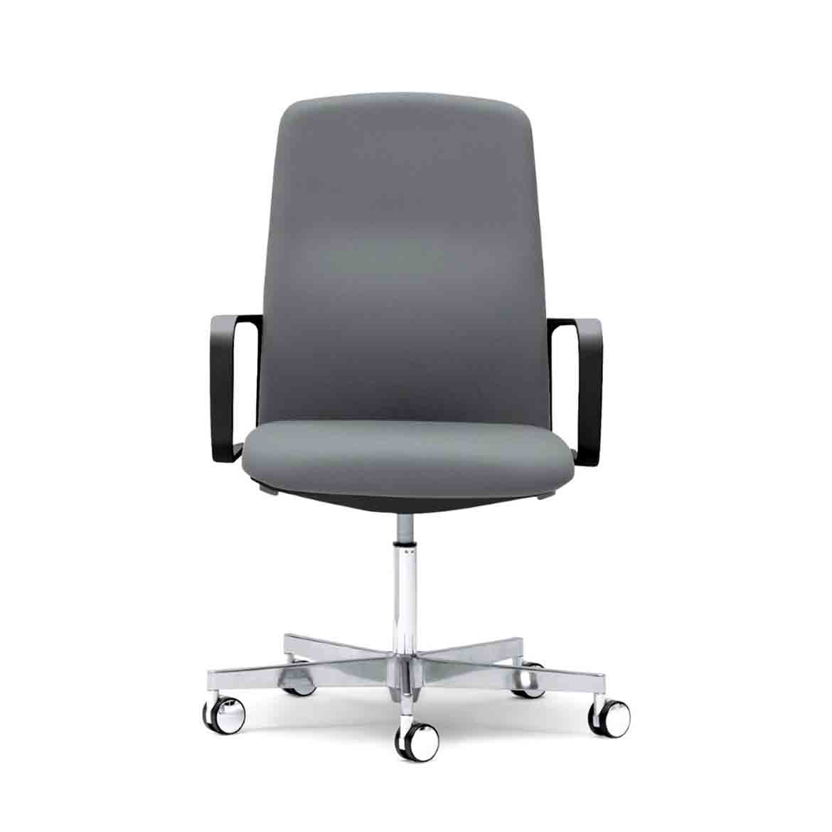 Ergonomic office chair with die-cast aluminium, hight adjustable base. Upholstered seat and die-cast aluminium armrests.