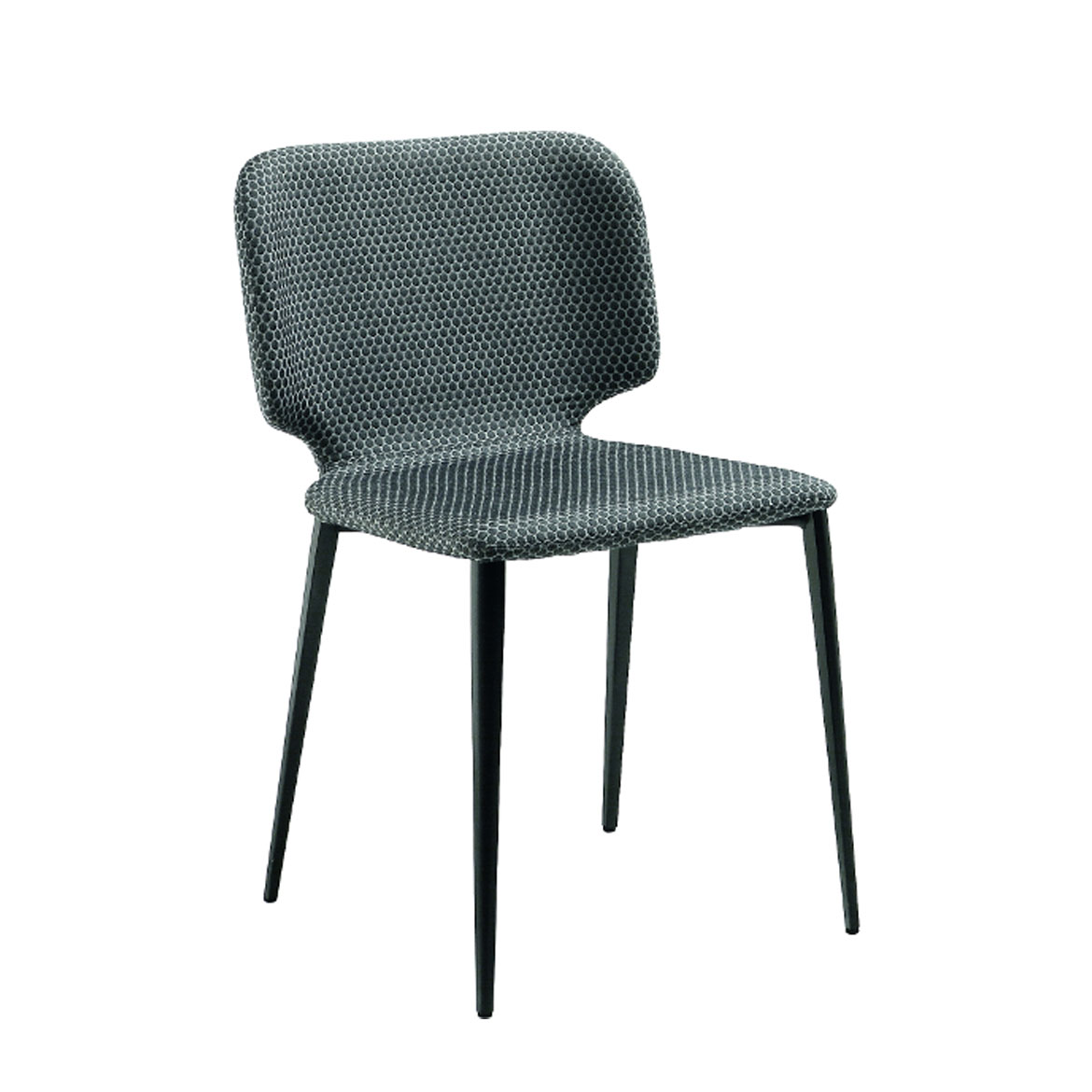 Wrap chair with four legs base in lacquered steel. Shell upholstered in leather, ecoleather, fabric or custom's fabric.