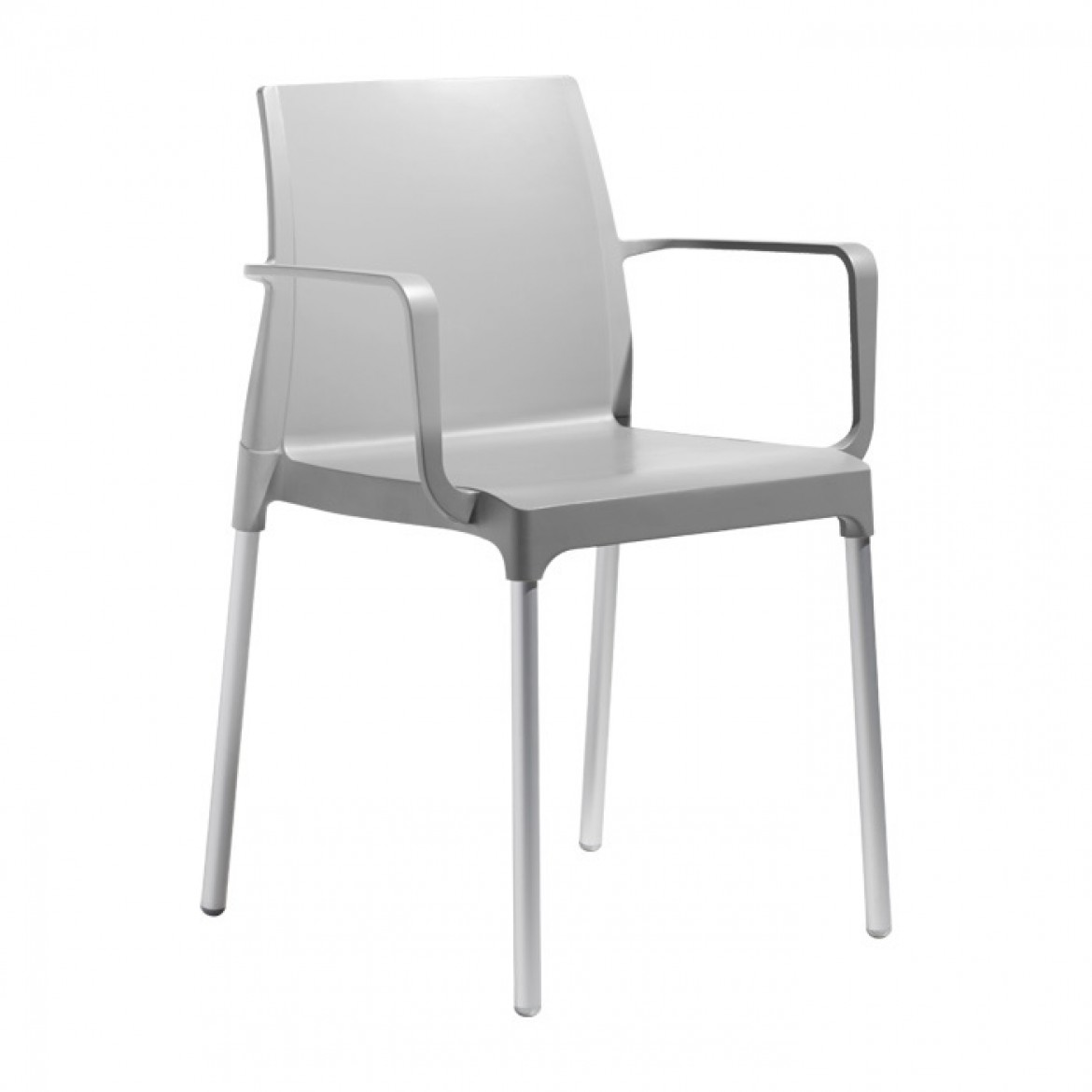 D 25 mm anodised aluminium legs. Stackable. Grey polypropylene linking advice is available upon request to compose tied-up chair rows. Fiberglass-reinforced recyclable technopolymer main body. Available in 4 different colours: linen, dove grey,  anthracite grey and light grey.