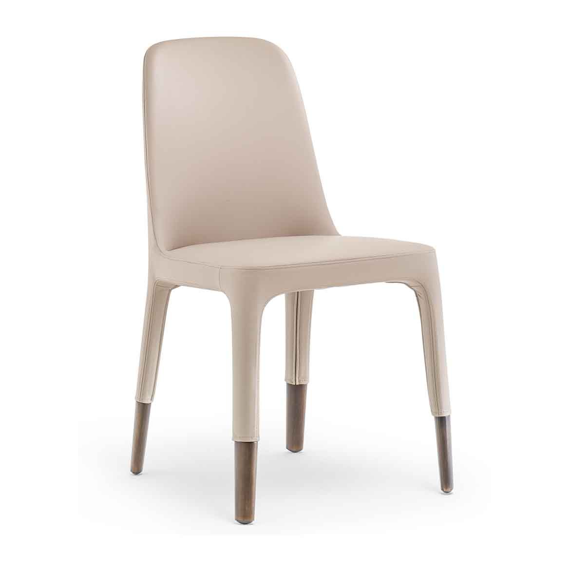 Satin aluminum,  brushed bronze or black nichel legs. Upholstered seat, available in a wide range of textiles or real leather.
