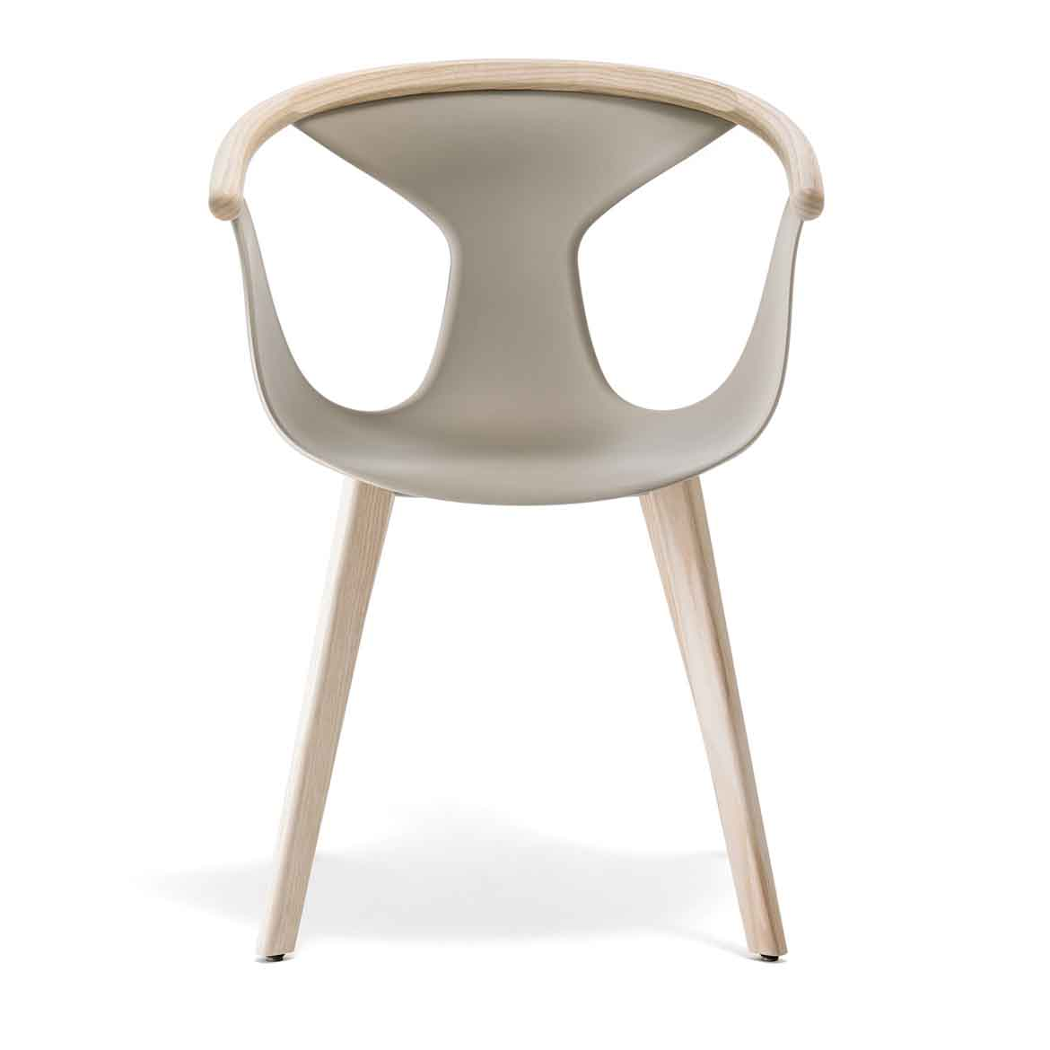 Ash wood or powder coated steel frame. Avaliable in different colors. Seat is made of polypropylene.