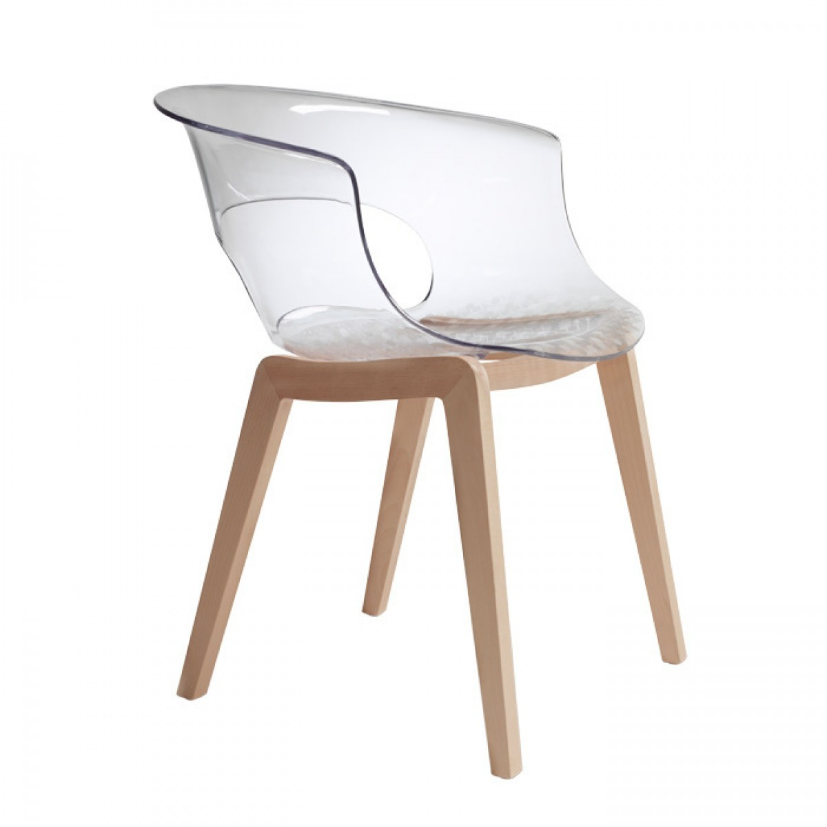 Natural beech frame. Shockproof polycarbonate body, available in translucent, smoked grey or solid white colour. Also available in the new version with fixed fabric seat cushion.