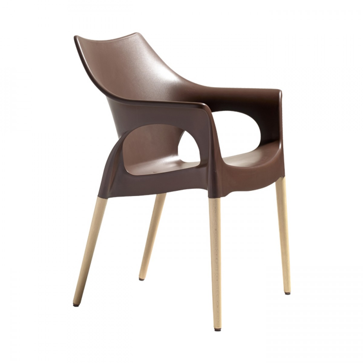 Natural beech legs. Polypropylene seat and backrest. Avaliable in linen, cocoa and anthracite finishes